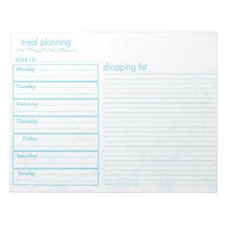 Planeamiento de la comida bloc de notas