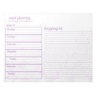 Planeamiento de la comida blocs de notas