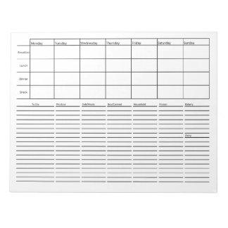 Planeamiento de la comida y lista del ultramarinos bloc de notas