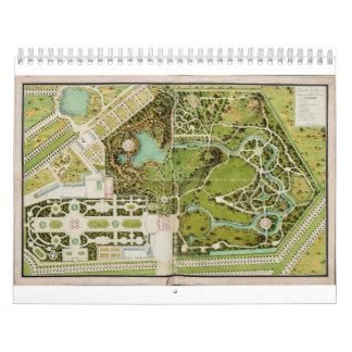 Planee a du jardin y castillo francés de la Reine Calendario De Pared
