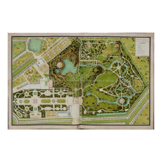 Planee a du jardin y castillo francés de la Reine Póster