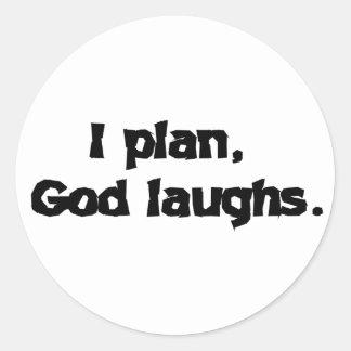 Planeo risas de dios pegatina redonda