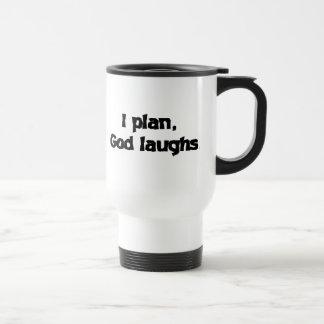 Planeo risas de dios taza de viaje de acero inoxidable
