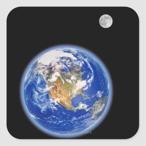 Planer Earth and Moon Square Sticker