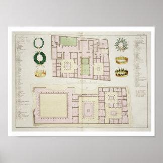 Planes de la casa del Questor y de la casa de Póster