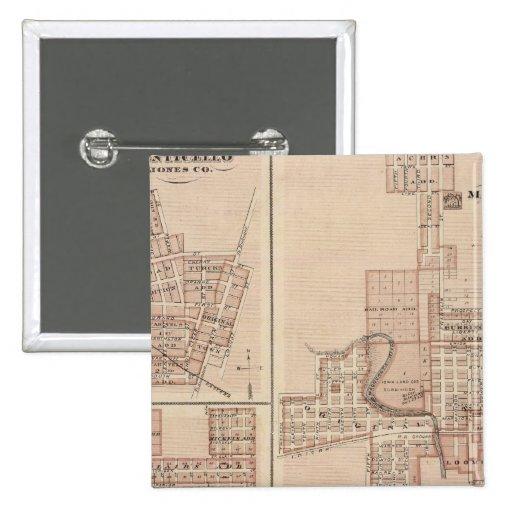 Planes de Monticello, Manchester, Missouri Valley Pin Cuadrada 5 Cm