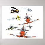 Planes Flying Aviation Art Poster