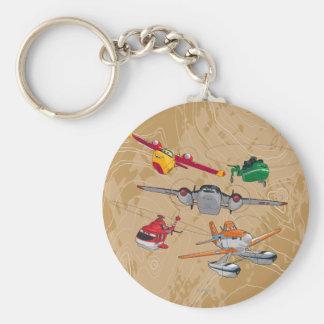 Planes Group Basic Round Button Keychain