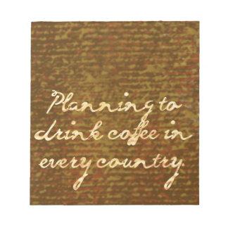 Planes internacionales del café bloc de papel