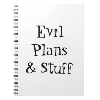 Planes malvados y cuaderno de la materia