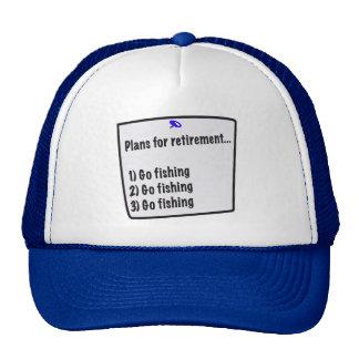 Planes para el casquillo del retiro (pesca) gorras