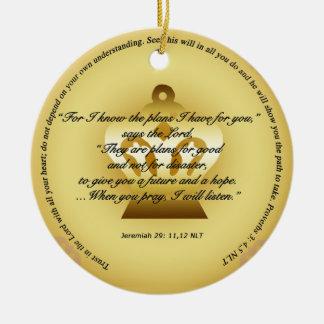 Planes para el ornamento de la esperanza y del adorno navideño redondo de cerámica