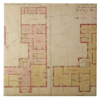 Planes para la casa roja, brezo de Bexley, 1859 (e Azulejo Cuadrado Grande