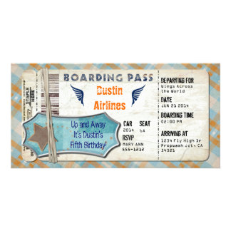 Planes Party Boarding Pass Photo Card Template