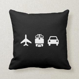Planes/Trains/Automobiles Pictogram Throw Pillow