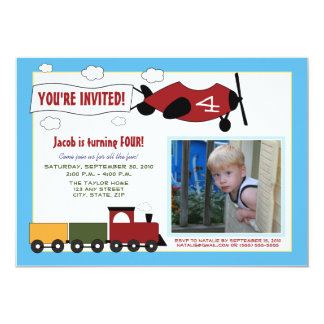 Planes & Trains Birthday Party Invite (blue)