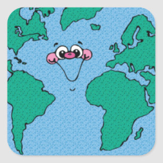 planet002PR CARTOON PLANET EARTH HAPPY DAY CAUSES Square Stickers