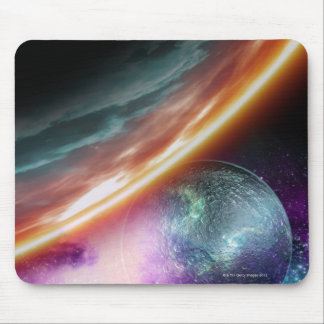 Planet and its moon. Computer artwork of an Mouse Pad