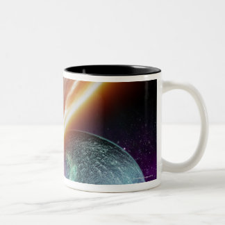 Planet and its moon. Computer artwork of an Two-Tone Coffee Mug