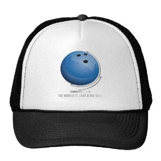 planet bowling world globe trucker hat