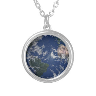 PLANET EARTH AFRICA CONTINENTS BLUE OCEAN GREEN SILVER PLATED NECKLACE