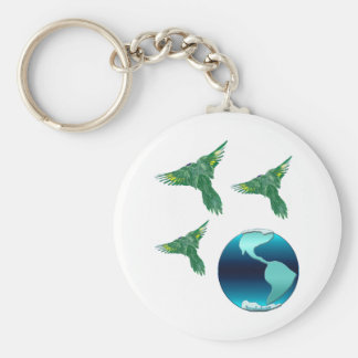 Planet Earth and Birds Keychain
