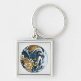 Planet Earth and clouds seen from space Silver-Colored Square Keychain