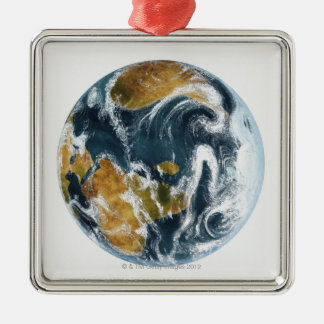 Planet Earth and clouds seen from space Metal Ornament
