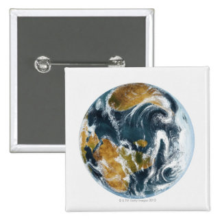 Planet Earth and clouds seen from space Pinback Button