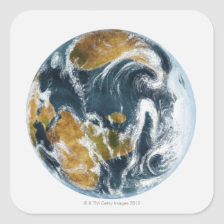 Planet Earth and clouds seen from space Square Sticker
