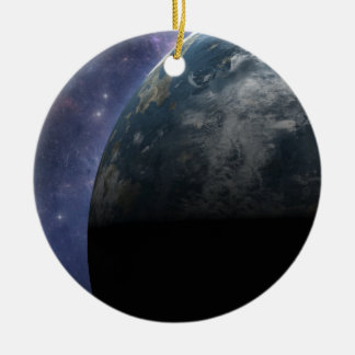 Planet Earth and Outer Space Fantasy Art Ceramic Ornament