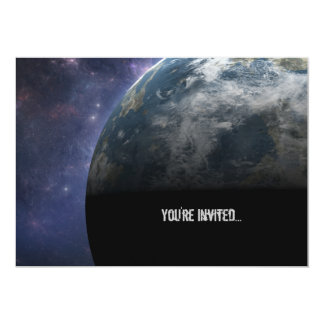 Planet Earth and Outer Space Fantasy Art 5x7 Paper Invitation Card