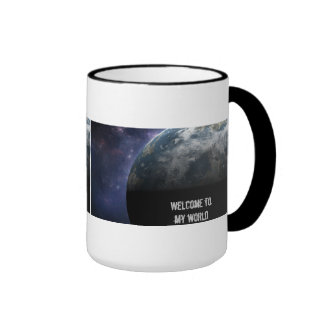 Planet Earth and Outer Space Fantasy Art Ringer Coffee Mug