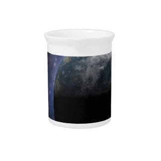 Planet Earth and Outer Space Fantasy Art Beverage Pitchers