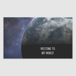 Planet Earth and Outer Space Fantasy Art Rectangular Sticker