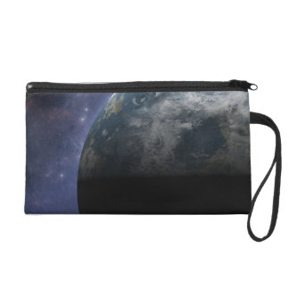 Planet Earth and Outer Space Fantasy Art Wristlet