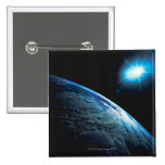 Planet Earth and Star from Space 2 Inch Square Button