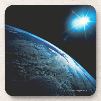 Planet Earth and Star from Space Beverage Coasters