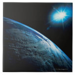 Planet Earth and Star from Space Large Square Tile
