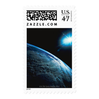 Planet Earth and Star from Space Postage
