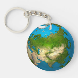 Planet Earth - Asia - colorful globe. 3d Render Keychain