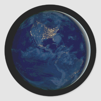 Planet Earth at Night from Space Classic Round Sticker