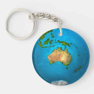 Planet Earth - Australia - Colorful Globe. 3d Acrylic Keychains