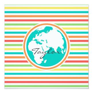 Planet Earth, Bright Rainbow Stripes Invitation