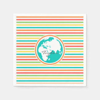 Planet Earth, Bright Rainbow Stripes Standard Cocktail Napkin