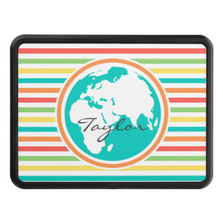 Planet Earth, Bright Rainbow Stripes Tow Hitch Covers