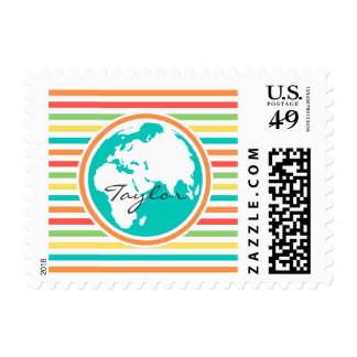Planet Earth, Bright Rainbow Stripes Stamps