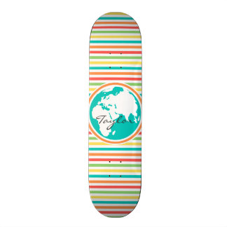 Planet Earth, Bright Rainbow Stripes Skateboard Deck