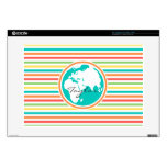 "Planet Earth, Bright Rainbow Stripes Decal For 15"" Laptop"