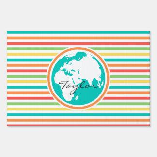 Planet Earth, Bright Rainbow Stripes Yard Signs